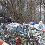 Mormane de gunoaie zac aruncate pe marginea drumului, în apropierea barajului de la Mihoiești