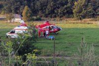 Elicopterul SMURD, solicitat pentru transportul motociclistei rănite în accidentul petrecut astăzi pe DN 75, la Sălciua